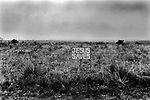 "BIG SPRING, TEXAS USA- JUNE 1999. A SIGN FIXED TO A FENCE ENCLOSING  BARREN AND FLAT FARM LAND READS ""JESUS SAVES""."