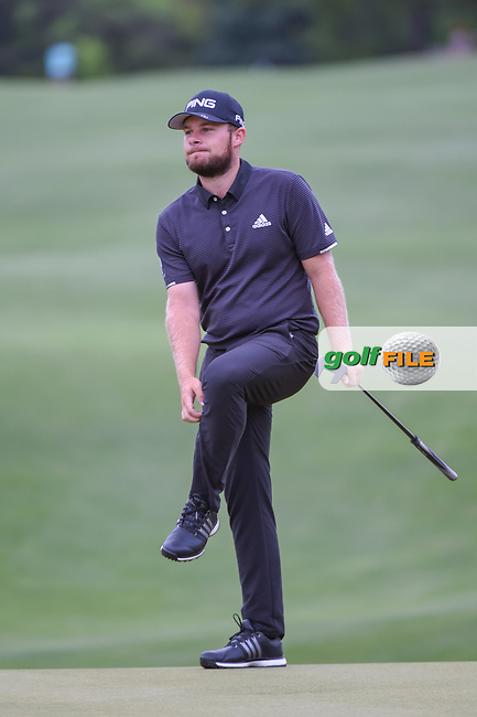 Tyrrell Hatton (ENG) reacts to this putt on 5 during day 4 of the WGC Dell Match Play, at the Austin Country Club, Austin, Texas, USA. 3/30/2019.<br /> Picture: Golffile | Ken Murray<br /> <br /> <br /> All photo usage must carry mandatory copyright credit (© Golffile | Ken Murray)