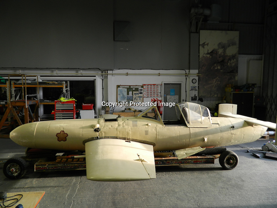 BNPS.co.uk (01202 558833)<br /> Pic: FAAM/BNPS<br /> <br /> ****Please use full byline****<br /> <br /> An incredibly rare surviving Kamikaze aircraft has come to light at a British museum after 70 years.<br /> <br /> The chilling aircraft that would have been flown by a Japanese pilot on a suicide mission was seized in tact by Allied forces at the end World War II.<br /> <br /> The craft, Yokosuka MXY7 Ohka 11, was one of just four brought back to Britain from the Far East to display in museums.<br /> <br /> It is not known what ever happened to the other three, but this example has been kept in storage for the last 30 years at the Fleet Air Arm Museum near Yeovil, Somerset.
