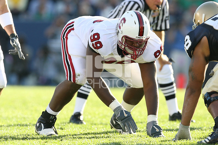 7 October 2006: Levirt Griffin during Stanford's 31-10 loss to Notre Dame at Notre Dame Stadium in South Bend, IN.
