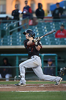 Brock Hebert (1) of the Bakersfield Blaze bats against the Lancaster JetHawks at The Hanger on April 28, 2016 in Lancaster, California. Lancaster defeated Bakersfield, 5-4. (Larry Goren/Four Seam Images)