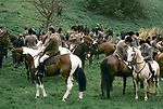 Quantock Staghounds 1990s Uk. Quantock Hills Somerset. Lawn Meet Bagborough House, the last Meet of the hunting season 1997.