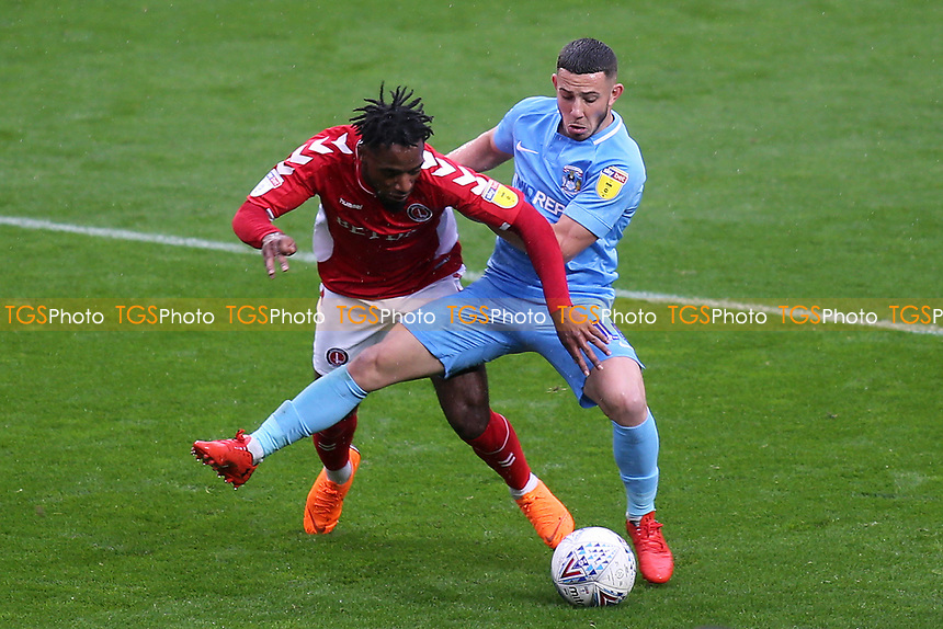 Tarig Fosu of Charlton and Coventry's Conor Chaplin challenge for the ball during Charlton Athletic vs Coventry City, Sky Bet EFL League 1 Football at The Valley on 6th October 2018