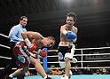 (L-R) Hugo Cazares (MEX), Hiroyuki Hisataka (JPN), DECEMBER 23, 2010 - Boxing : Hiroyuki Hisataka of Japan in action against Hugo Fidel Cazares of Mexico during the 6th round of the WBA super flyweight title bout at Osaka Prefectural Gymnasium in Osaka, Osaka, Japan. (Photo by Mikio Nakai/AFLO).