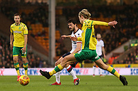 Norwich City's Todd Cantwell closes down Bolton Wanderers' Jason Lowe<br /> <br /> Photographer David Shipman/CameraSport<br /> <br /> The EFL Sky Bet Championship - Norwich City v Bolton Wanderers - Saturday 8th December 2018 - Carrow Road - Norwich<br /> <br /> World Copyright &copy; 2018 CameraSport. All rights reserved. 43 Linden Ave. Countesthorpe. Leicester. England. LE8 5PG - Tel: +44 (0) 116 277 4147 - admin@camerasport.com - www.camerasport.com