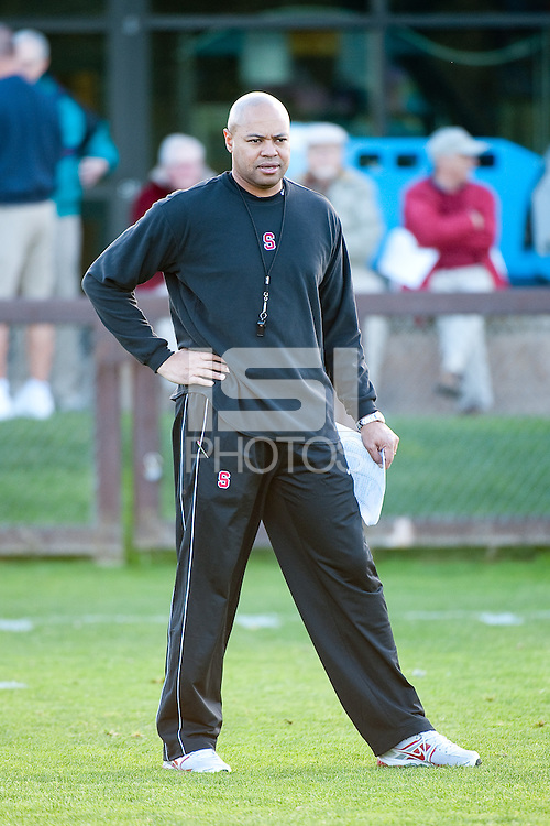 STANFORD, CA - FEBRUARY 21, 2011: Head Coach David Shaw, first Spring practice on the football practice fields, February 21, 2011 in Stanford, California.