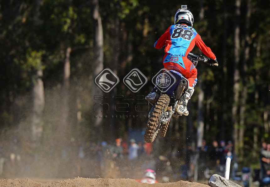 Jordan Hill / Yamaha<br /> MX Nationals / Round 6 / MXD<br /> Australian Motocross Championships<br /> Raymond Terrace NSW<br /> Sunday 5 July 2015<br /> &copy; Sport the library / Jeff Crow