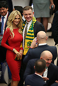 1st December 2017, State Kremlin Palace, Moscow, Russia;  2018 World Cup FINAL DRAW IN MOSCOW; Victoria Petrovna Lopyreva, official ambassador of the FIFA World Cup 2018 with Australian group