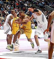 30/03/2014<br /> LIGA ENDESA<br /> JORNADA 25<br /> Real Madrid - Herbalife Gran Canaria<br /> 50 SALAH MEJRI Pivot (REAL MADRID) <br /> 13 E.BAEZ Ala-Pivot (Herbalife Gran Canaria)