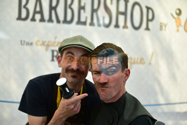 Yoann Offredo (FRA) Wanty-Groupe Gobert visits the barber in the Tour Village before the start of Stage 6 of the 104th edition of the Tour de France 2017, running 216km from Vesoul to Troyes, France. 6th July 2017.<br /> Picture: ASO/Pauline Ballet | Cyclefile<br /> <br /> <br /> All photos usage must carry mandatory copyright credit (&copy; Cyclefile | ASO/Pauline Ballet)