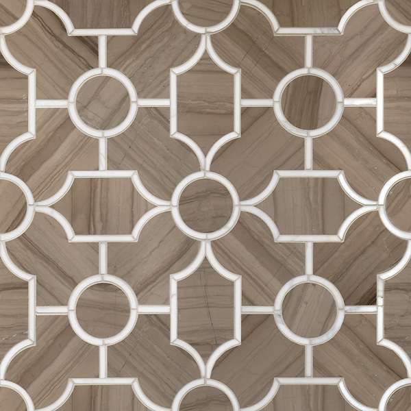Chatham 3, a waterjet stone mosaic shown in Driftwood and Calacatta Tia, is part of the Silk Road collection by Sara Baldwin for New Ravenna.