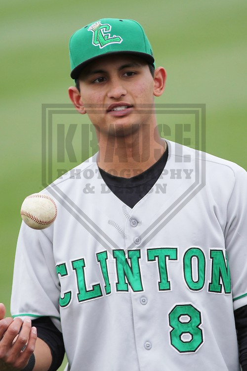 GRAND CHUTE - May 2013: Tim Lopes (8) of the Clinton LumberKings, Class-A affiliate of the Seattle Mariners, prior to a game against the Wisconsin Timber Rattlers, Class-A affiliate of the Milwaukee Brewers on May 10, 2013 at Time Warner Cable Field at Fox Cities Stadium in Grand Chute, Wisconsin. (Photo by Brad Krause)..