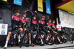 Chris Froome (GBR) and Team Ineos on stage at the team presentation before Stage 1 of the Criterium du Dauphine 2019, running 142km from Aurillac to Jussac, France. 9th June 2019<br /> Picture: ASO/Alex Broadway | Cyclefile<br /> All photos usage must carry mandatory copyright credit (© Cyclefile | ASO/Alex Broadway)