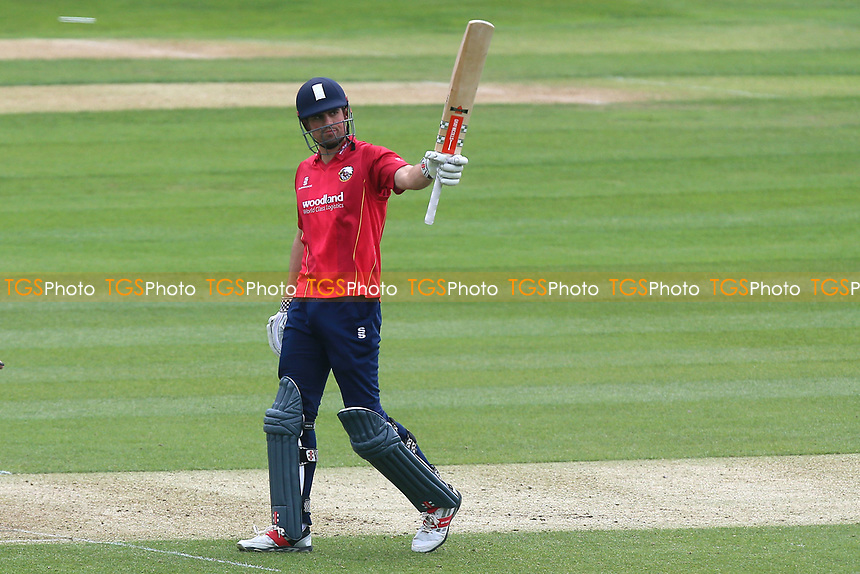 Alastair Cook of Essex celebrates scoring a century, 100 runs during Essex Eagles vs Gloucestershire, Royal London One-Day Cup Cricket at The Cloudfm County Ground on 4th May 2017