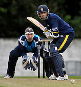 STOCK - CB40 Cricket - Saltires V Durham at Grange CC Edinburgh - Durham and Scotland batsman Kyle Coetzer - keeper is Gregor Maiden - Picture by Donald MacLeod - 16.05.11 - 07702 319 738 - www.donald-macleod.com - clanmacleod@btinternet.com