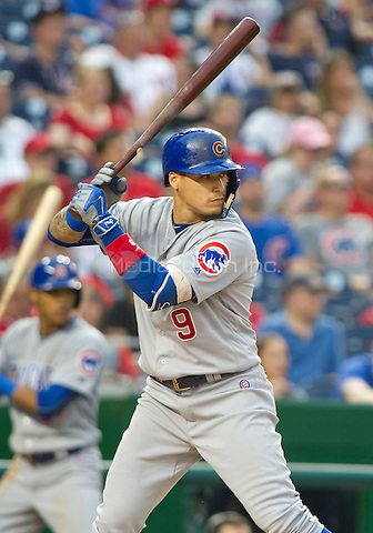 Chicago Cubs third baseman Javier Baez (9) bats in the twelfth inning against the Washington Nationals at Nationals Park in Washington, D.C. on Wednesday, June 15, 2016.  The Nationals won the game 5 - 4 in 12 innings.<br /> Credit: Ron Sachs / CNP/MediaPunch ***FOR EDITORIAL USE ONLY***