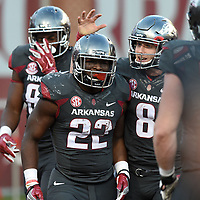 NWA Democrat-Gazette/MICHAEL WOODS • @NWAMICHAELW<br /> University of Arkansas quarterback Austin Allen (8) congratulates running back Rawleigh Williams III after he scoreed a touchdown in the 4th quarter Saturday, November 5, 2016  during the Razorbacks 31-10 win at Razorback Stadium in Fayetteville.