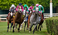 ELMONT, NY - JUNE 09: #2, Pure Sensation ridden by Kendrick Carmouche leads the field for the Jaipur Invitational as they enter the stretch on Belmont Stakes Day at Belmont Park on June 9, 2018 in Elmont, New York. (Photo by Dan Heary/Eclipse Sportswire/Getty Images)