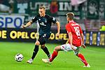 04.11.2018, Opel-Arena, Mainz, GER, 1 FBL, 1. FSV Mainz 05 vs SV Werder Bremen, <br /> <br /> DFL REGULATIONS PROHIBIT ANY USE OF PHOTOGRAPHS AS IMAGE SEQUENCES AND/OR QUASI-VIDEO.<br /> <br /> im Bild: Ludwig Augustinsson (SV Werder Bremen #5) gegen Daniel Brosinski (#18, FSV Mainz)<br /> <br /> Foto © nordphoto / Fabisch