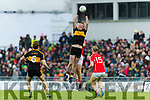 Johnny Buckley, Dr Crokes in action against David Spillane, East Kerry during the Kerry County Senior Club Football Championship Final match between East Kerry and Dr. Crokes at Austin Stack Park in Tralee, Kerry.