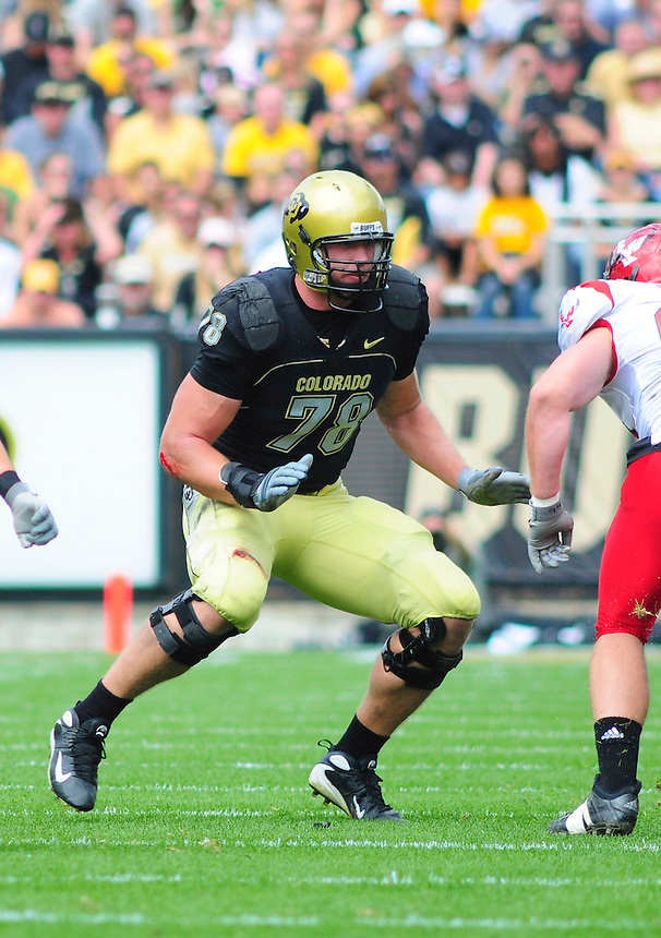 06 September 08: Colorado left tackle Nate Solder (78) on a play against Eastern Washington. The Colorado Buffaloes defeated the Eastern Washington Eagles 31-24 at Folsom Field in Boulder, Colorado. FOR EDITORIAL USE ONLY