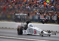 Jun 4, 2016; Epping , NH, USA; NHRA top fuel driver Antron Brown during qualifying for the New England Nationals at New England Dragway. Mandatory Credit: Mark J. Rebilas-USA TODAY Sports