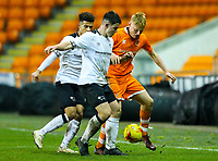 Blackpool's Owen Watkinson battles with Derby County's Eiran Cashin and Kornell McDonald<br /> <br /> Photographer Alex Dodd/CameraSport<br /> <br /> The FA Youth Cup Third Round - Blackpool U18 v Derby County U18 - Tuesday 4th December 2018 - Bloomfield Road - Blackpool<br />  <br /> World Copyright &copy; 2018 CameraSport. All rights reserved. 43 Linden Ave. Countesthorpe. Leicester. England. LE8 5PG - Tel: +44 (0) 116 277 4147 - admin@camerasport.com - www.camerasport.com