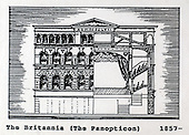 A copy of one of the images gifted by actor Tony Roper to the Britannia Panoptican in Glasgow, after he presented the long-lost variety music hall with some ink drawings of old Glasgow theatres. The framed collection was given to Roper by the family of Ricki Fulton - picture by Donald MacLeod 05.03.09