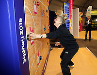 06.08.2015 Silver Ferns Katrina Grant visit the Fan Fest ahead of the 2015 Netball World Champs at All Phones Arena in Sydney, Australia. Mandatory Photo Credit ©Michael Bradley.