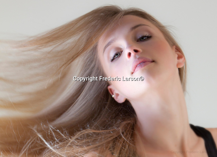 Darcy Gamble poses for photographed Frederic Larson at the Above the Dish studios in Mill Valley, CA.....