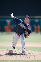 Atlanta Braves pitcher Chad Sobotka (55) delivers a pitch during an Instructional League game against the Baltimore Orioles on September 25, 2017 at Ed Smith Stadium in Sarasota, Florida.  (Mike Janes/Four Seam Images)