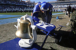 30 November 2013: The Duke Blue Devil mascot with the Victory Bell. The University of North Carolina Tar Heels played the Duke University Blue Devils at Keenan Memorial Stadium in Chapel Hill, NC in a 2013 NCAA Division I Football game. Duke won the game 27-25.