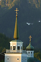 Russian Orthodox Saint Michael's church. Built in 1844-48, destroyed by fire in January 1966. Many of the icons and religious objects were salvaged and are in the rebuilt structure Sitka, Alaska