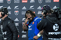 France's Mathieu Bastareaud wipes sweat from his eyes after the Steinlager Series international rugby match between the New Zealand All Blacks and France at Eden Park in Auckland, New Zealand on Saturday, 9 June 2018. Photo: Dave Lintott / lintottphoto.co.nz