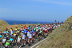 The peloton approach Castelsardo along the Costa Smeralda during Stage 1 of the 100th edition of the Giro d'Italia 2017, running 206km from Alghero to Olbia, Sardinia, Italy. 4th May 2017.<br /> Picture: Eoin Clarke | Cyclefile<br /> <br /> <br /> All photos usage must carry mandatory copyright credit (&copy; Cyclefile | Eoin Clarke)<br /> <br /> All photos usage must carry mandatory copyright credit (&copy; Cyclefile | LaPresse)