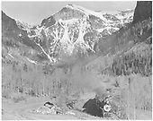 Engine #74 returning to Telluride with Rocky Mountain Railroad Club Special.<br /> RGS  Telluride, CO  5/28/1949