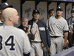 Masahiro Tanaka (Yankees),<br /> APRIL 18, 2015 - MLB :<br /> Masahiro Tanaka of the New York Yankees in the dugout during the Major League Baseball game against the Tampa Bay Rays at Tropicana Field in St. Petersburg, Florida, United States. (Photo by AFLO)