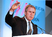 Governor George W. Bush (Republican of Texas), the leading candidate for the nomination of the Republican Party for President of the United States in 2000, speaks at a press conference prior to addressing the Republican Jewish Coalition in Washington, DC on December 1, 1999.  <br /> Credit: Ron Sachs / CNP