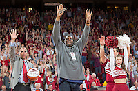 NWA Democrat-Gazette/JASON IVESTER<br /> Former Razorback Oliver Miller is honored during a timeout as an SEC Legend during the game against Texas A&amp;M Wednesday, Feb. 22, 2017, at Bud Walton Arena in Fayetteville.