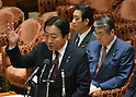 February 3, 2012, Tokyo, Japan - Japan's Prime Minister Yoshiho Noda, foreground, speaks during a Diet lower house Budget Committee meeting in Tokyo on Friday, February 3, 2012. Seated in background right is Defense Minister Naoki Tanaka. Both Noda and Tanaka were caught in a crossfire from the opposition camp when a senior Defense Ministry official has come under fire for encouraging his subordinates to vote in the upcoming mayoral election in Ginowan, Okinawa Prefecture, which hosts the U.S. Marine Corps' Air Station in Futennma. (Photo by Natsuki Sakai/AFLO) AYF -mis-