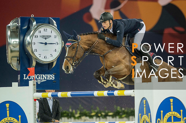 Max Kuhner of Austria riding Electric Touch during the Hong Kong Jockey Club Trophy competition, part of the Longines Masters of Hong Kong on 10 February 2017 at the Asia World Expo in Hong Kong, China. Photo by Juan Serrano / Power Sport Images