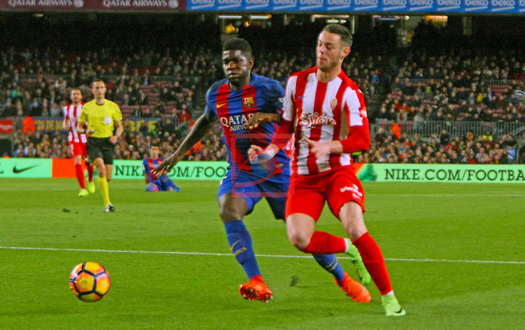 League Santander 2016/2017. Game: 25.<br /> FC Barcelona vs Real Sporting SAD: 6-1.<br /> Umtiti vs Burgui.