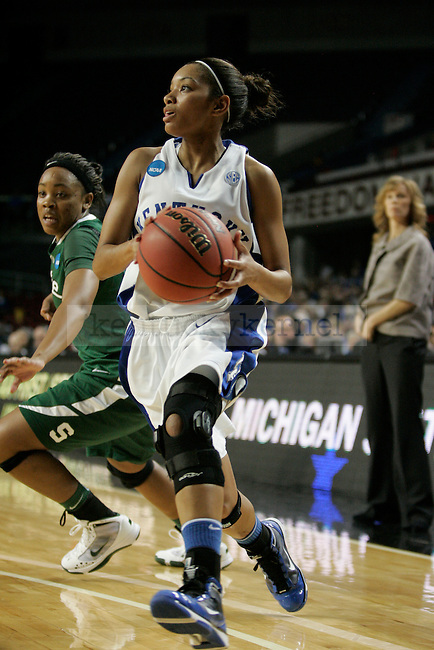 UK's Keyla Snowden looks to pass the ball under the basket against Michigan State at Freedom Hall on Monday, March 22, 2010. Photo by Scott Hannigan | Staff