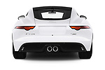 Straight rear view of 2019 Jaguar F-Type R-Dynamic 2 Door Coupe Rear View  stock images