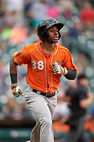 Norfolk Tides Cedric Mullins (38) runs to first base during an International League game against the Buffalo Bisons on June 21, 2019 at Sahlen Field in Buffalo, New York.  Buffalo defeated Norfolk 2-1, the first game of a doubleheader.  (Mike Janes/Four Seam Images)