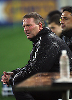 Phoenix coach Ricki Herbert and assistant coach Luciano Trani watch from the sidelines during the first half during the A-League football match between Wellington Phoenix and Perth Glory at Westpac Stadium, Wellington, New Zealand on Sunday, 16 August 2009. Photo: Dave Lintott / lintottphoto.co.nz