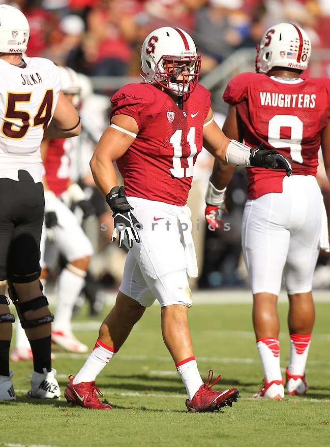 Stanford Cardinal Shayne Skov (11) during a game against Arizona State on September 21, 2013 at Stanford Stadium in Stanford, CA. Stanford beat Arizona State 42-28.