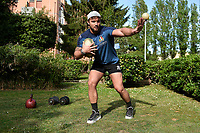 Federico Mori, rising star of Italian rugby, Calvisano player in Top12 and grandson of Fabrizio Mori (world champion of the 400 meters hurdles in Seville 1999), trains in the garden of his home in Livorno during the lockdown period due to the Covid-19 emergency.<br /> <br /> Livorno, 05/05/2020<br /> <br /> Photo Andrea Masini / Insidefoto