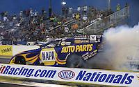 Apr. 5, 2013; Las Vegas, NV, USA: NHRA funny car driver Ron Capps during qualifying for the Summitracing.com Nationals at the Strip at Las Vegas Motor Speedway. Mandatory Credit: Mark J. Rebilas-