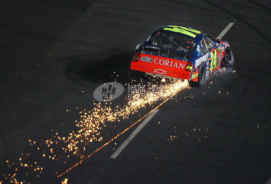 May 28, 2006; Charlotte, NC, USA; Nascar Nextel Cup driver Jeff Gordon (24) after blowing a tire and hitting the wall during the Coca Cola 600 at Lowes Motor Speedway. Mandatory Credit: Mark J. Rebilas..
